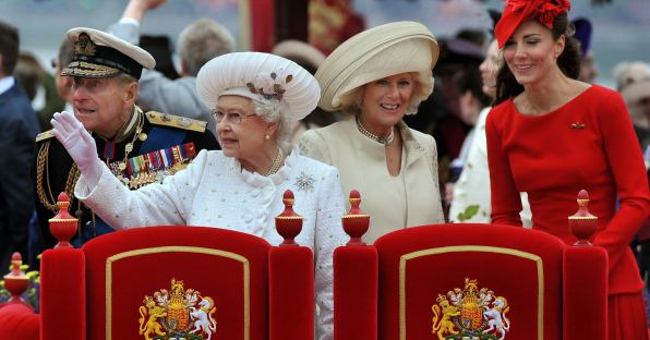 White dress with stunning silver for the Queen's Diamond Jubilee